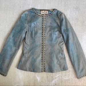 powder river outfitters teal snake print blazer